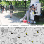 5 locations in St. Lawrence Market Neighbourhood will be decorated. The map shows where.