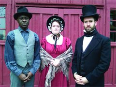 In period costumes designed by Julie Oakes are , from left, Richard Peirpoint (Tawiah M'carthy), Laura Secord, (Jessie Shearer) and John Strachen (Barrett Morrison).