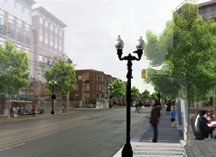 A rendering of a potential future King St. at Sumach recommends that the city integrate the intersection into the Cherry St. treatment in conjunction with new streetcar line to West Don Lands.