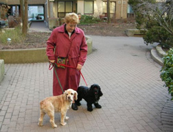 Doreen Albrecht of Windward takes Chelsey and Truffle for a walk.