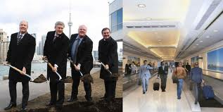 Bigwigs at the big dig. (Right) Proposed luxury tunnel to save 5 minutes off a ferry ride for the elite traffic at Island airport if it still operates when the $82 million hole is completed.
