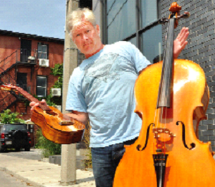 Steve McNie with his ukulele and cello.