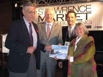 Alan Seymour, left, shown at a Market event. Also pictured are The Bulletin's history columnist Bruce Bell and Coun. Pam McConnell.