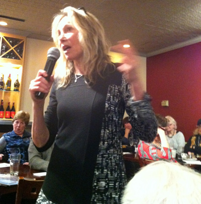 Linda McQuaig, famed Canadian author & journalist, speaking at HotHouse Restaurant & Café.