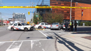 Police tape blocks Parliament at Mill Street today (Sept. 16) following a chase for an allegedly stolen Toyota.