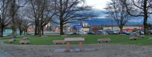 Marker of Change, memorial consisting of 14 coffin-like benches in Vancouver by artist Beth Alber