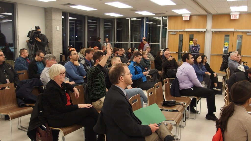 A crowded hall at Cooper Koo YMCA in Corktown for the public meeting with the TTC on streetcar noise on the Cherry Street Line.
